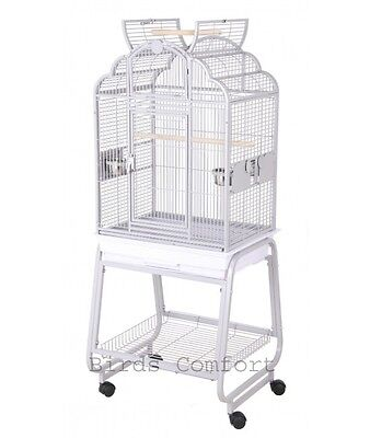 Cockatiels Bird Cage Victorian with Cart Stand Powder-Coated 22x17 Platinum NEW