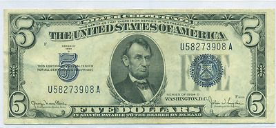 Xf Or Better 1934 D $5 Silver Certificate