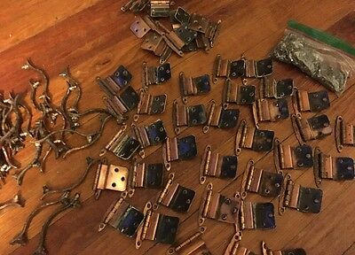 Lot Of Vintage Bronze Cabinet Pulls And Hinges AJAX
