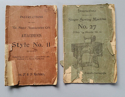 Antique Singer Sewing Machine No 27 Manual & Attachments Style 11 Instructions