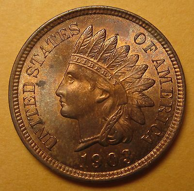 1903 Indian Cent – Choice Uncirculated (ANACS MS-63 RB) !