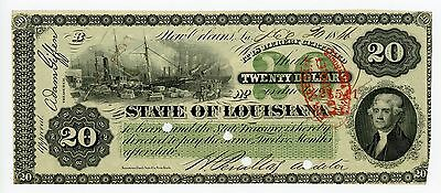1866 Cr.27 $20 The State of LOUISIANA Note