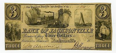 1800's $3 The Bank of Jacksonville, FLORIDA Note w/ TRAIN