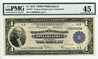 1918 Fr.715 $1 U.S. (Philadelphia, PA) Federal Reserve Bank Note - PMG Ch.XF 45