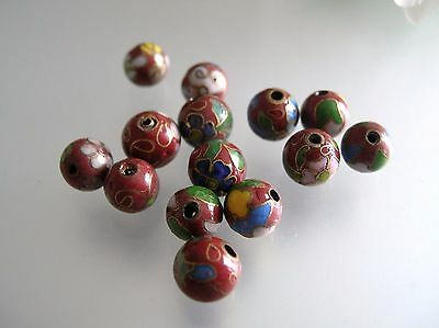 Vintage estate 14 pcs 7.5-8.5 mm metal Cloisonne brown loose beads whole drilled