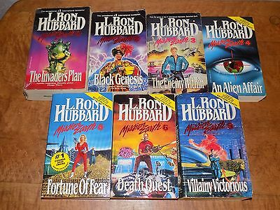 Lot of 7 Mission Earth books by L. Ron Hubbard PB #1-6, 9