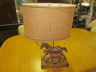 VINTAGE TABLE LAMP DUNNING RANCH CRAFT  PR. of BREYER HORSES  C1960