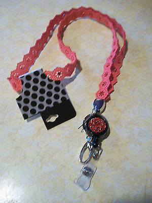 New Redish  Jeweled Bling Lanyard ID Badge Holder - Key Ring -  Retractable Reel