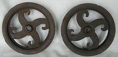 "VINTAGE INDUSTRIAL MACHINE WHEEL PAIR 6"" Cast Iron Trolley Steampunk Ore"
