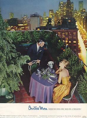 1960 Countess Mara PRINT AD romantic dinner on a roof top city overview couple
