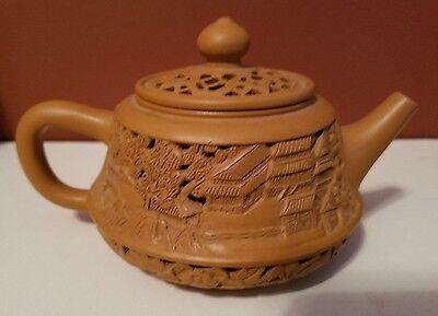 Antique Chinese YiXing Clay Teapot  Marked- Reticulated