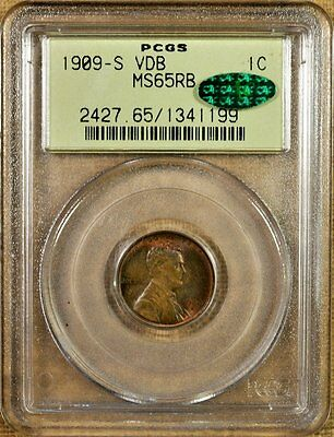 1909-S VDB PCGS MS65 RB Lincoln Cent - Key Date - Old Green Holder - CAC