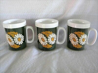 3 Vintage Thermo-Serv Coffee Cup Mug Daiseys Green and Gold by West Bend 1960-70