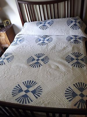 Amazing Antique Quilt French Blue and White Cog Wheel Vintage Hand Quilted