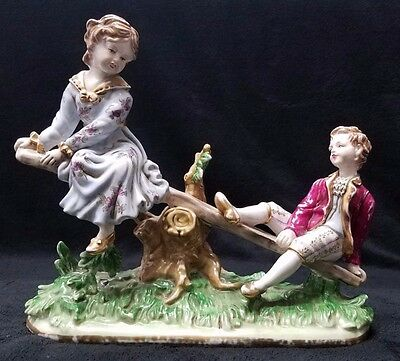 "Antique Sevres  French Porcelain Figurine of ""BOY & GIRL ON SEESAW"" (18 Century)"