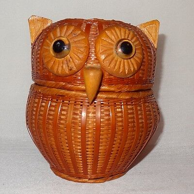 Vintage Wicker Bamboo Owl Basket Brown Two halves that fit together Large Eyes