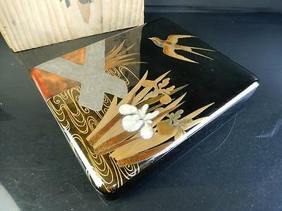 F6476: Japanese XF Wooden Lacquer ware INKSTONE CASE Box Calligraphy tool.