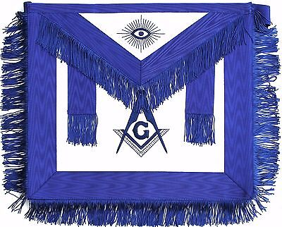 Blue Master Mason Apron With Fringe