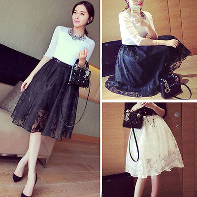 Summer Autumn Women Skirt Double Layer Pleated Floral Elastic Waist Midi Skirt