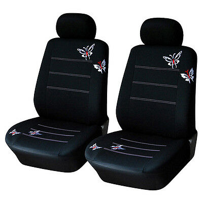 Butterfly Embroidered Car Seat Cover Interior Accessories Black Seat Covers Set