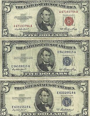1953 RED 5$ united states note,1953 silver certificate,1953-A silver certificate