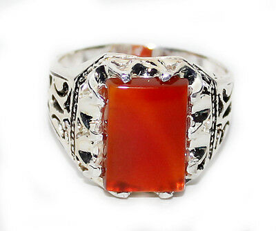 Islamic China Red Agate Men Ring - Silver Plated - Handmade - size 10.5
