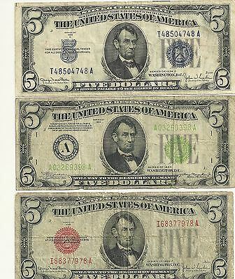 1928-F RED,1934-D BLUE,1934 GREEN SEAL 5 Dollar Notes