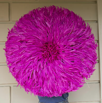 Juju Feather Hat, Pink, Cameroon, Beautiful High Quality 70 to 80 cm