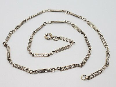 Vintage Victorian White Yellow Gold Filled Detailed Pocket Watch Chain