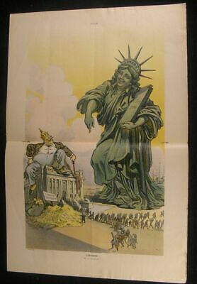 Statue of Liberty Mocking Taxpayers Greedy 1911 antique color lithograph print