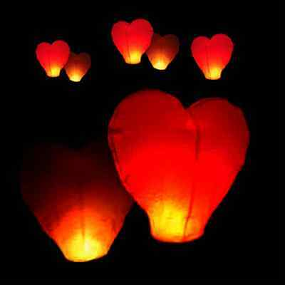 Heart Shape Chinese Paper Lantern Flying Sky Lanterns Candle Lamp Wedding Party