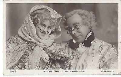 Edwardian Actress Zena Dare & Seymour Hicks  Old Couple 1906 Real Photo Postcard