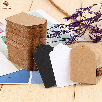 100PCS Wedding Brown/White Retangle Kraft Paper Tag Favor Gift Blank Tags 7*4cm