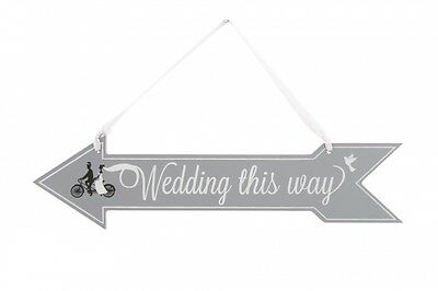 Wedding This Way Arrow Wooden Hanging Decoration Sign - Double Sided Directions