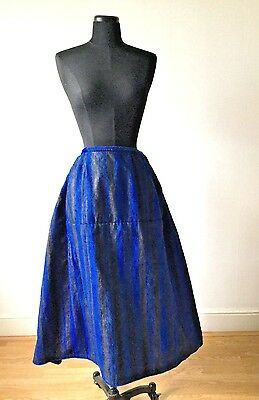 1910s 1920s  Indigo Blue Dutch Workwear Folk Costume Skirt Stripe Linen Pleated