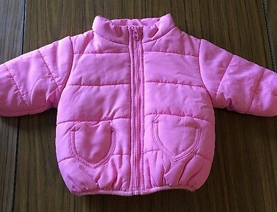DYMPLES Size 000 Pink Puffer Jacket With Heart Shaped Pockets