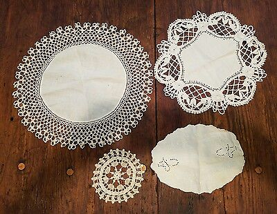 LOT of Beautiful Detailed Antique Doily Doilies Hand Embroidered