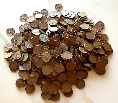 10 Roll Collection:500 Lincoln Wheat Cent Coin Lot Mixed Mint Marks (1909-1958)