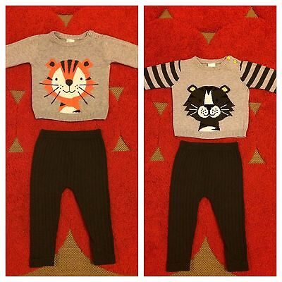 Knitted jumpers tiger bear leggings tights baby 00 twins boy girl pants EUC
