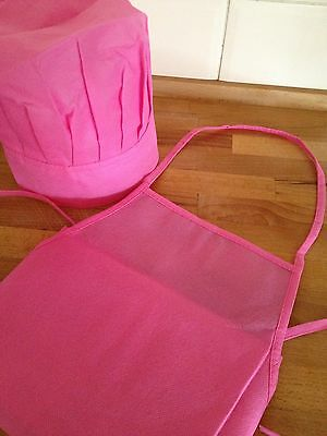 kids apron & chef hat set-pink-kids cooking apron & chef hat