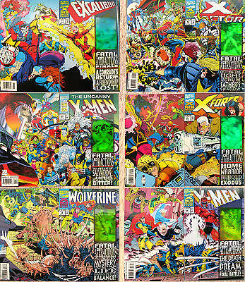 Fatal Attractions Complete 6 issue Set X-Men Crossover Storyline Hologram Covers