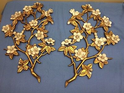 Vintage Burwood Gold White Flowering Dogwood Branch Wall Plaques Set Of 2