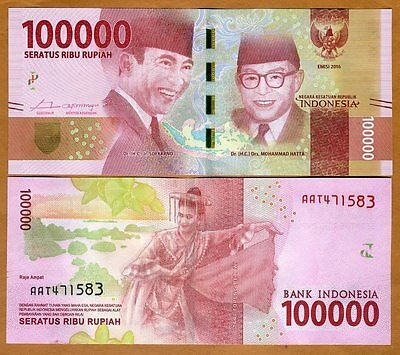 Indonesia, 100000 (100,000) Rupiah, 2016, P-New, Redesigned, UNC   Dancer