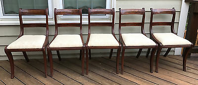 5 Antique Mahogany Duncan Phyfe Dining Chairs Upholstered Seat