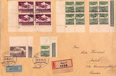 MS3695 1938 CZECHOSLOVAKIA Brno REGISTERED Airmail SWEDEN
