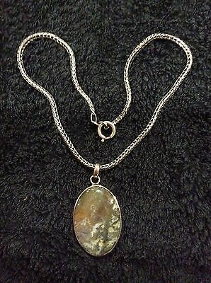 Solid Silver Framed Moss Agate Pendant On Solid Silver Chain.