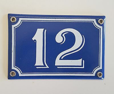 Vintage French Blue Enamel Steel Door House Gate Number Sign Plate 12