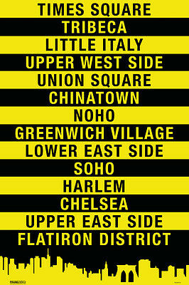 New York City Manhattan Neighborhoods Modern Art Poster - 12x18