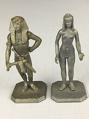 Vintage Egyptian PHARAOH & Woman 3/16 Miniature Toy Metal Pewter STATUE Soldiers