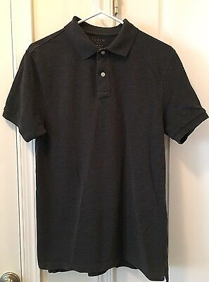 J. CREW. Men's Short Sleeve Polo Shirt, Slim Fit, Med., Dark Charcoal Gray